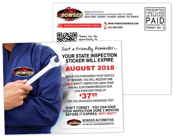 Bowser Inspection Reminder Postcard