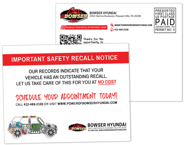 Bowser Safety Recall Notice Postcard