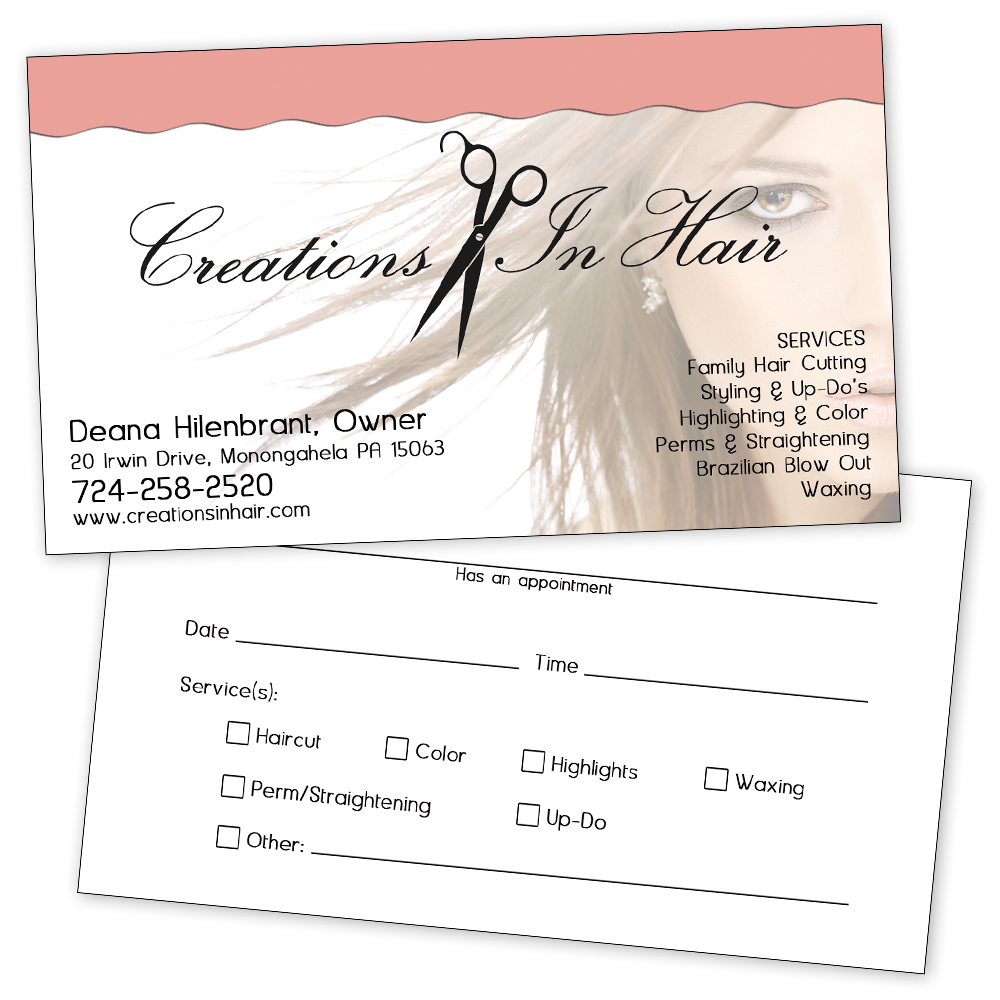 Creations In Hair Business Appointment Card
