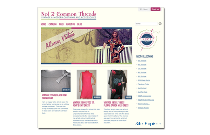 screenshot for a vintage clothing site