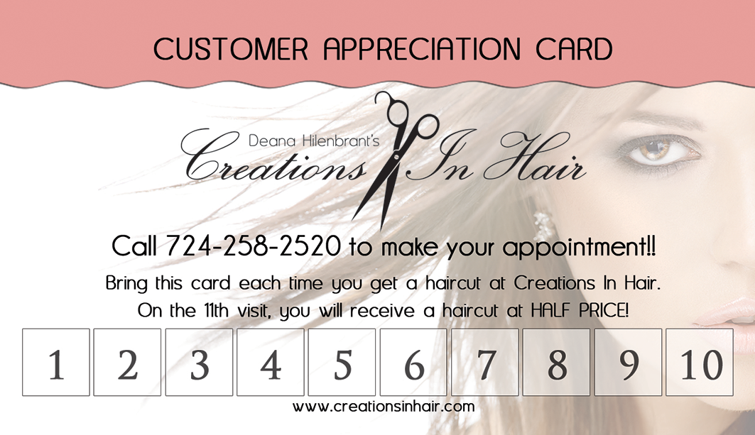 Creations In Hair Appointment Card